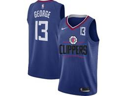 Mens Nba Los Angeles Clippers #13 Paul George Blue Nike Jersey (black Letter On Front)