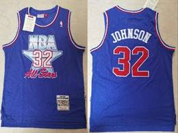 Mens Nba Los Angeles Lakers #32 Magic Johnson Blue 1991-92 All Star Mitchell&ness Hardwood Classics Jersey