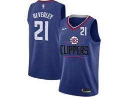 Mens Nba Los Angeles Clippers #21 Patrick Beverley Blue Nike Jersey (black Letter On Front)
