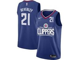 Mens Nba Los Angeles Clippers #21 Patrick Beverley Blue Nike Jersey (white Letter On Front)