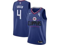 Mens Nba Los Angeles Clippers #4 Jamychal Green Blue Nike Jersey (black Letter On Front)
