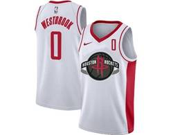 Mens Nba Houston Rockets #0 Russell Westbrook White Swingman Nike Jersey