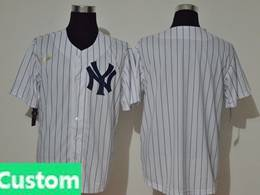 Mens Mlb New York Yankees Custom Made White Stripe Throwbacks Cool Base Nike Jersey