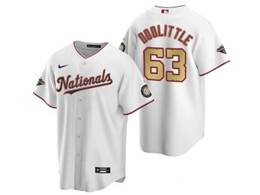 Mens Mlb Washington Nationals #63 Sean Doolittle White Gold Number 2020 Champions Cool Base Nike Jerse