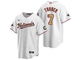 Mens Mlb Washington Nationals #7 Trea Turner White Gold Number 2020 Champions Cool Base Nike Jersey