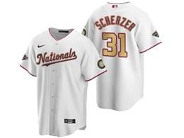Mens Mlb Washington Nationals #31 Max Scherzer White Gold Number 2020 Champions Cool Base Nike Jerse