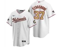 Mens Mlb Washington Nationals #37 Stephen Strasburg White Gold Number 2020 Champions Cool Base Nike Jerse