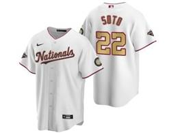 Mens Mlb Washington Nationals #22 Juan Soto White Gold Number 2020 Champions Cool Base Nike Jersey