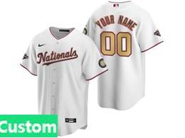 Mens Mlb Washington Nationals Custom Made White Gold Number 2020 Champions Cool Base Nike Jersey