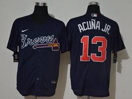 Mens Mlb Atlanta Braves #13 Ronald Acuna Jr. 2020 Dark Blue Cool Base Nike Jersey