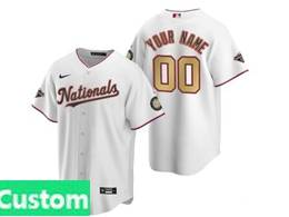 Women Mlb Washington Nationals Custom Made White Gold Number 2020 Champions Cool Base Nike Jersey