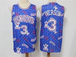Mens Nba Philadelphia 76ers #3 Allen Iverson Blue Printing Tear Up Pack Mitchell&ness Swingman Jersey