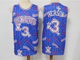 Mens Nba Philadelphia 76ers #3 Allen Iverson Blue Printing Tear Up Pack Mitchell&ness Swingman Jersey