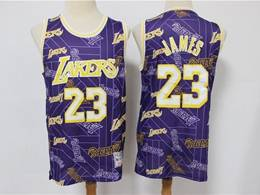 Mens Nba Los Angeles Lakers #23 Lebron James Purple Printing Tear Up Pack Mitchell&ness Swingman Jersey