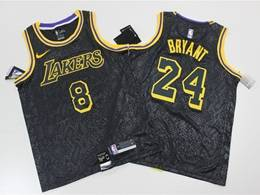 Mens Nba Los Angeles Lakers #8&24 Kobe Bryant Black Hot Pressing Commemorative Limited Nike Jersey
