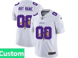 Mens Nfl Minnesota Vikings Custom Made White Shadow Logo Vapor Untouchable Limited Jersey