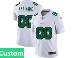 Mens Nfl New York Jets Custom Made White Shadow Logo Vapor Untouchable Limited Jersey