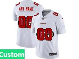 Mens Nfl San Francisco 49ers Custom Made White Shadow Logo Vapor Untouchable Limited Jersey