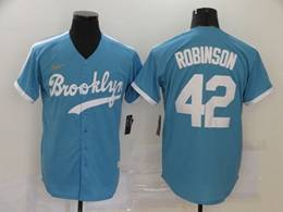 Mens Mlb Los Angeles Dodgers #42 Ackie Robinson New Light Blue Cool Base Gold Logo Nike Jersey
