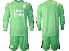 Mens 20-21 Soccer Olympique De Marseille Club ( Custom Made ) Green Goalkeeper Long Sleeve Suit Jersey
