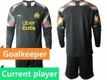 Mens 20-21 Soccer Olympique De Marseille Club Current Player Black Goalkeeper Long Sleeve Suit Jersey