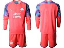 Mens 20-21 Soccer Olympique De Marseille Club ( Custom Made ) Pink Goalkeeper Long Sleeve Suit Jersey