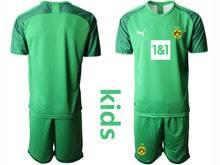 Kids 20-21 Soccer Borussia Dortmund Club ( Custom Made ) Green Goalkeeper Short Sleeve Suit Jersey