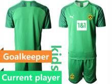 Kids 20-21 Soccer Borussia Dortmund Club Current Player Green Goalkeeper Short Sleeve Suit Jersey