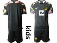 Kids 20-21 Soccer Borussia Dortmund Club ( Custom Made ) Black Goalkeeper Short Sleeve Suit Jersey