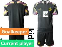 Kids 20-21 Soccer Borussia Dortmund Club Current Player Black Goalkeeper Short Sleeve Suit Jersey