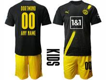 Kids 20-21 Soccer Borussia Dortmund Club ( Custom Made ) Black Home Short Sleeve Suit Jersey