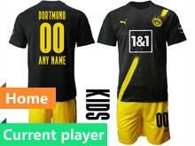 Kids 20-21 Soccer Borussia Dortmund Club Current Player Black Home Short Sleeve Suit Jersey