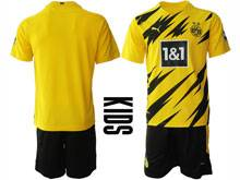Kids 20-21 Soccer Borussia Dortmund Club ( Custom Made ) Yellow Home Short Sleeve Suit Jersey