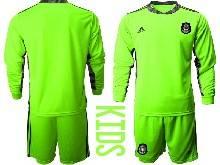 Kids 20-21 Soccer Mexico National Team ( Custom Made ) Fluorescence Green Goalkeeper Long Sleeve Suit Jersey