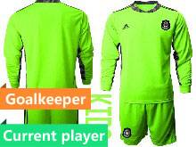 Kids 20-21 Soccer Mexico National Team Current Player Fluorescence Green Goalkeeper Long Sleeve Suit Jersey
