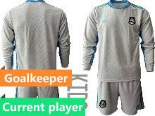 Kids 20-21 Soccer Mexico National Team Current Player Gray Goalkeeper Long Sleeve Suit Jersey