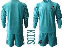 Kids 20-21 Soccer Mexico National Team ( Custom Made ) Blue Goalkeeper Long Sleeve Suit Jersey