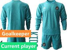 Kids 20-21 Soccer Mexico National Team Current Player Blue Goalkeeper Long Sleeve Suit Jersey