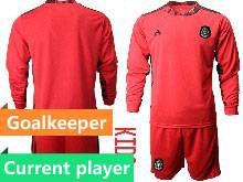 Kids 20-21 Soccer Mexico National Team Current Player Red Goalkeeper Long Sleeve Suit Jersey