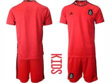Baby 20-21 Soccer Mexico National Team ( Custom Made ) Red Goalkeeper Short Sleeve Suit Jersey