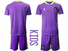 Baby 20-21 Soccer Mexico National Team ( Custom Made ) Purple Goalkeeper Short Sleeve Suit Jersey