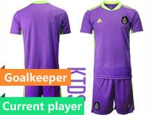 Kids 20-21 Soccer Mexico National Team Current Player Purple Goalkeeper Short Sleeve Suit Jersey
