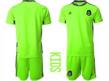 Kids 20-21 Soccer Mexico National Team ( Custom Made ) Fluorescence Green Goalkeeper Short Sleeve Suit Jersey