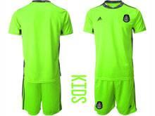 Baby 20-21 Soccer Mexico National Team ( Custom Made ) Fluorescence Green Goalkeeper Short Sleeve Suit Jersey