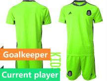 Kids 20-21 Soccer Mexico National Team Current Player Fluorescence Green Goalkeeper Short Sleeve Suit Jersey