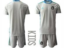 Baby 20-21 Soccer Mexico National Team ( Custom Made ) Gray Goalkeeper Short Sleeve Suit Jersey