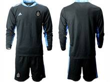 Mens 20-21 Soccer Mexico National Team ( Custom Made ) Black Goalkeeper Long Sleeve Suit Jersey