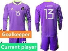 Mens 20-21 Soccer Mexico National Team Current Player Purple Goalkeeper Long Sleeve Suit Jersey