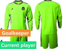 Mens 20-21 Soccer Mexico National Team Current Player Fluorescence Green Goalkeeper Long Sleeve Suit Jersey