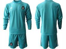 Mens 20-21 Soccer Mexico National Team ( Custom Made ) Blue Goalkeeper Long Sleeve Suit Jersey